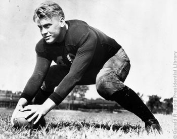 Gerald Ford on the football field at the University of Michigan. 1933