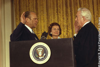 Gerald R. Ford is sworn in as the 38th President of the United States, Date: August 9, 1974