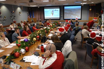 NORAD Ops Center tracking Santa Claus supported by altogether more than 1.000 volunteers.