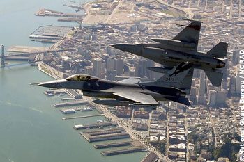 North American Aerospace Defense Command directed two Air National Guard F-16 fighters, similar to these California Air National Guard F-16s, to intercept a small Cessna aircraft in the National Capital Region Air Defense Identification Zone Aug. 1, 2007. The civilian pilot responded to the intercept and landed without incident at an airport in Maryland. Photo courtesy National Guard Bureau