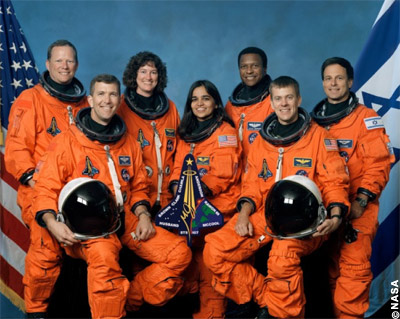 Remembering Columbia: The STS-107 crew. Seated in front are astronauts Rick Husband, commander, and Willie McCool, pilot. Standing are (from left) mission specialists Dave Brown, Laurel Clark, Kalpana Chawla, Mike Anderson (payload commander) and payload specialist Ilan Ramon, representing the Israeli Space Agency.