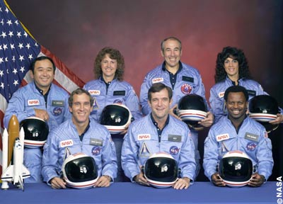 Remembering Challenger: The NASA family lost seven of its own on the morning of January 28, 1986, when a booster engine failed, causing the Shuttle Challenger to break apart just 73 seconds after launch. The crew of STS-51-L: Front row from left, Mike Smith, Dick Scobee, Ron McNair. Back row from left, Ellison Onizuka, Christa McAuliffe, Greg Jarvis, Judith Resnik.
