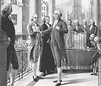 April 30, 1789: George Washington taking Inaugural oath at Federal Hall, New York, New York