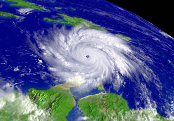 Hurricane Ivan 2004 (Cat5) in the Caribbean, north of South America