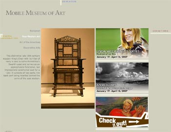 Website of the Museum of Art in Mobile