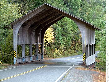 Photo: 'The most westerly and the shortest covered bridge in California: Located on Douglas Park drive off hwy 199 near Hiouchi, just east of Crescent City in Del Norte county. This has to be the best looking little covered bridge of all.' - Bob, 'the redwood man'