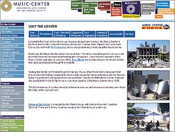Website Music Center L.A.