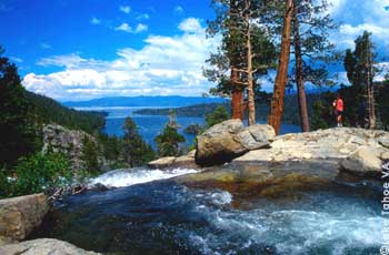 A Hiker soaks in the view of Eagle Falls, Emerald Bay and Lake Tahoe