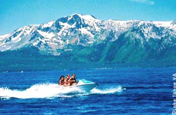 Jet skiing on Lake Tahoe with Mt. Tallac in background