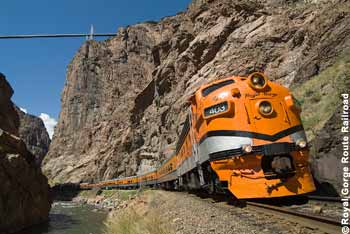 Train deep within the Royal Gorge