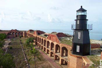 Lighthouse of Fort Jefferson on Garden Key in the Dry Tortugas National Park