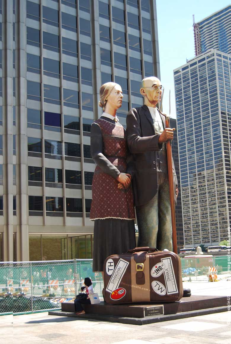 'God Bless America' - Sculpture by Seward Johnson on Chicago's Michigan Avenue