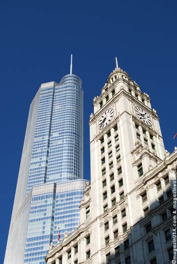 The gleaming white Wrigley Building is one of America's most famous office towers
