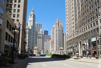 Michigan Avenue with Wrigley Building in back