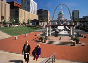 Kiener Plaza stretches before the historic Old Courthouse and the Gateway Arch in downtown St. Louis