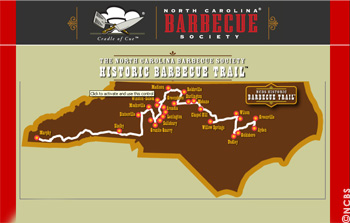 The Barbecue Trail leads the visitor and Barbecue friend across North Carolina