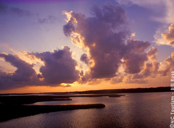 The sun rises over Bogue Sound in Carteret County, NC