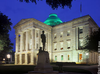 The NC State Capitol was built between 1833 and 1840. A National Historic Landmark, it is one of the best-preserved examples of a civic building in the Greek Revival style of architecture. It originally housed the governor's office, cabinet offices, legislative chambers, state library and state geologist's office. The building has been restored to its 1840s appearance