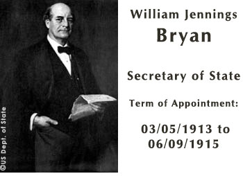 William Jennings Bryan was U.S. Secretary of State from 1913 to 1915