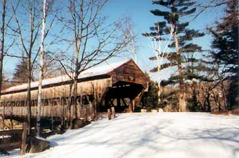 Snow on a NH covered bridge