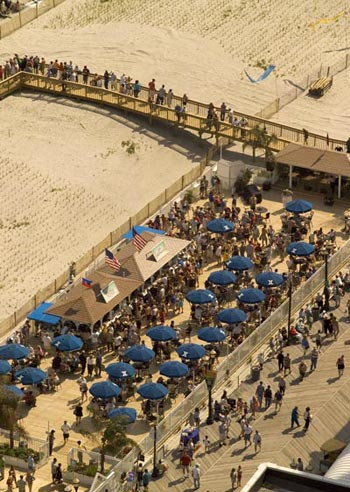 People from all over the world come to enjoy the Atlantic City Boardwalk and beautiful beaches. The recent addition of beach bars is a popular attraction for many.