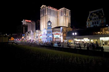 The Atlantic City Boardwalk at night.