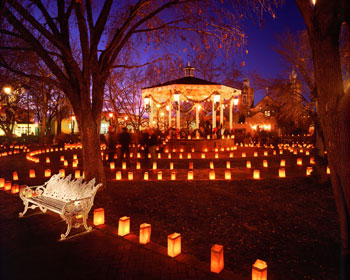 Luminarias light up Historic Old Town during the December holidays.