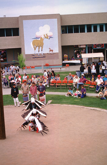 Spectators can view a variety of American Indian dances year round at the Indian Pueblo Cultural Center.