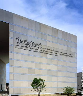 The Preamble to the Constitution written on the National Constitution Center's façade