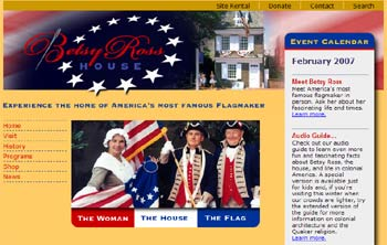 Website Betsy Ross House, Philadelphia