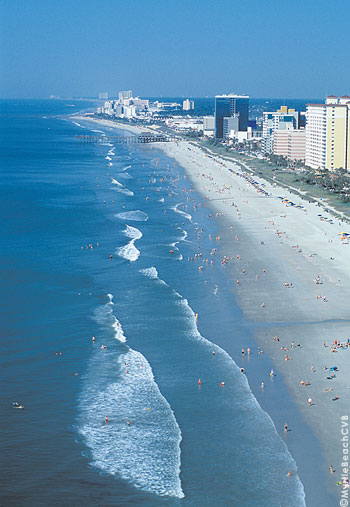 An aerial view of the Myrtle Beach area of South Carolina, often called the Grand Strand because it stretches for 60 miles.