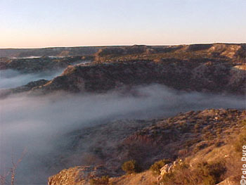 Fog in the Palo Duro Canyon State Park