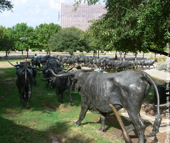 Pioneer Plaza in Dallas houses the world's largest bronze monument, displaying 40 Texas longhorn steer