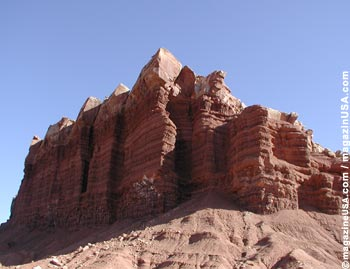 Capitol Reef's rough, red landscape..