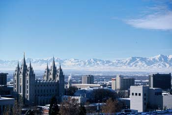 Salt Lake Skyline, with Oquirrh Mountains