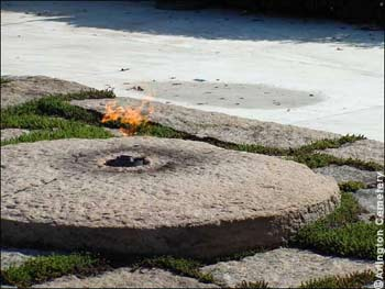 The eternal flame next to JF Kennedy's Grave and the Robert F. Kennedy Memorial