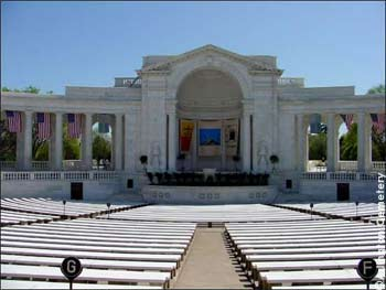 The front view of the Memorial Amphitheater