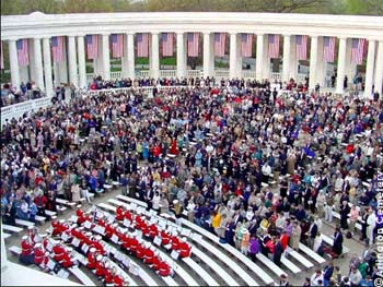 Easter Sunrise Service at Arlington National Cemetery with the United States Marine Band, 'The President's Own,' in the foreground.