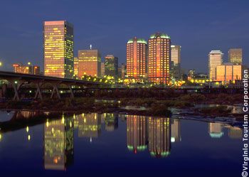 The James River and downtown Richmond skyline at night