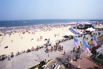 ECSC Beach Scene Virginia Beach hosts the annual East Coast Surfing Championships each August