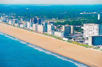 Beach Aerial Virginia Beach has over 11,000 hotel rooms city-wide and over 27,000 in the greater Virginia Beach region.