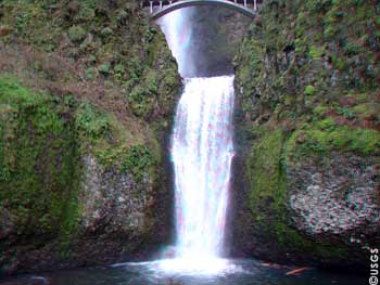 Lower falls at Multnomah Falls near the west end of the Columbia River Gorge