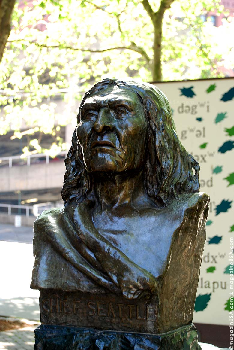 The sculpture of Chief Seath (Seattle), the name-giver for the city is located at Pioneer Square