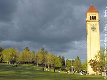 Campanile and People in Park at Spokane Riverfront Park
