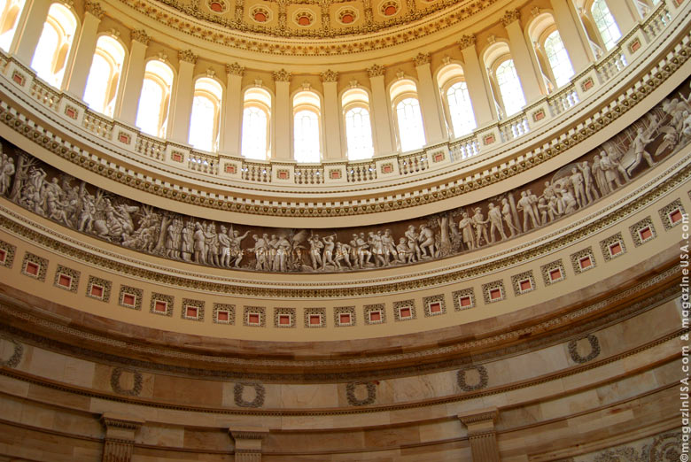 The Capitol Rotunda is the principal circulation space in the Capitol, connecting the House and Senate sides