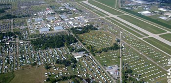 An aerial view of Wittman Regional Airport in Oshkosh, Wisconsin, home of the annual EAA AirVenture fly-in since 1970.