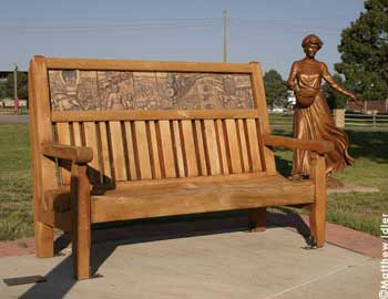 This artistic carved bench is in Cheyenne's Botanic Gardens in Lions Park.